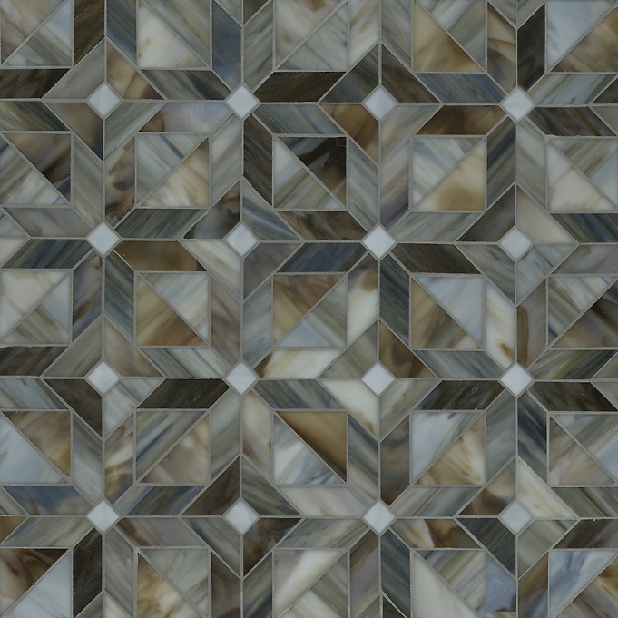 Rubrik water jet mosaic shown in glass Pearl, Lavastone, and Schist Jewel glass. (New Ravenna Mosaics 2012)