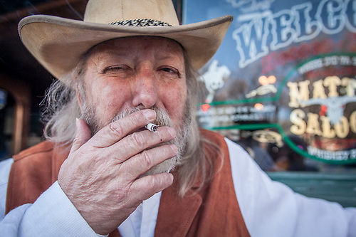 Cowboy actor Steve Taylor in front of Matt's Saloon, Prescott, AZ  stevengrizztaylor@mail.com (© Clark James Mishler)