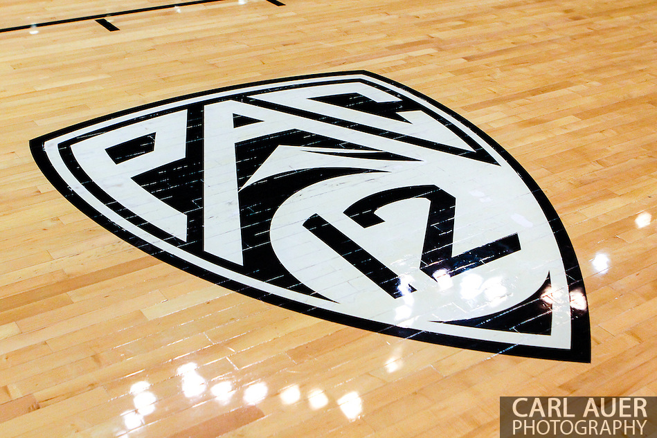 November 16th, 2013:  The Pac-12 logo on the floor at the Coors Events Center in Boulder prior to tip off in the NCAA Basketball game between the Jackson State Tigers and the University of Colorado Buffaloes in Boulder, Colorado (Carl Auer/ZUMAPRESS.com)