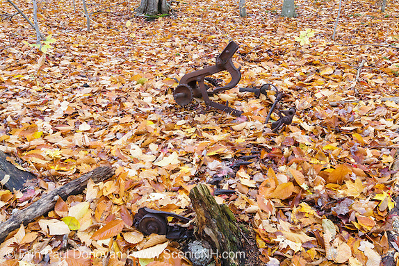 Remnants of an old sickle bar mower at an abandoned farmstead at Thornton Gore in Thornton, New Hampshire during the autumn months.