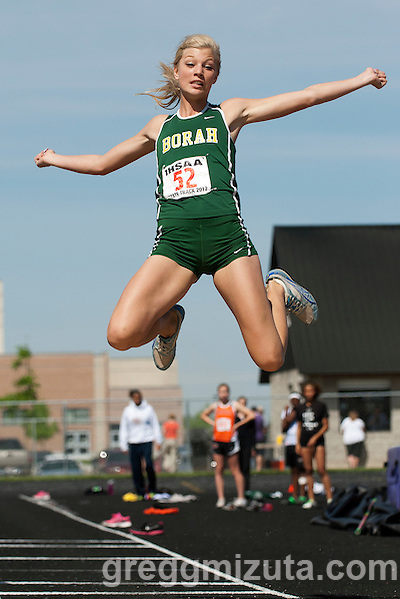 Borah senior Brittany Owens long jumps during the 5A Idaho Track and Field Championships on May 19, 2012 at Rocky Mountain High School, Meridian, Idaho. Owens went 19-05.50 to break her state meet record of 19-01 set on May 21, 2010. Owens ended her high school track and field career as a six time state champion winning the long jump and triple jump titles for the past three years. (Gregg Mizuta)