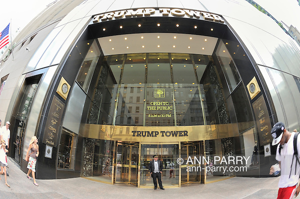 Trump Tower entrance with doorman and pedestrians, fisheye 180 degree view, Fifth Avenue, Manhattan, NYC, USA, on June 27, 2011. NOTE: taken with fisheye lens (Ann E Parry/Ann Parry, Ann-Parry.com)