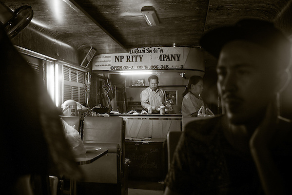 Restaurant car, Thai National Railway train #85 overnight express from Bangkok to Surat Thani. Near Chumphon, Thailand, November 2015. Photograph ©2015 Darren Carroll (Darren Carroll)