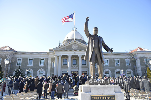 Mineola, NY, USA. Jan. 1, 2018. Historic swearing-In of Laura Curran as Nassau County Executive, the first female County Executive, is held outdoors in front of Theodore Roosevelt Executive & Legislative Building. (© 2018 Ann Parry/Ann-Parry.com)