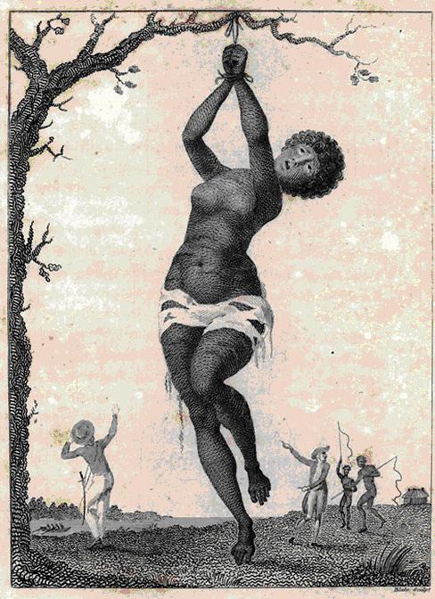 : Grabado de William Blake (1791) sobre las revueltas de esclavos en Surinam.