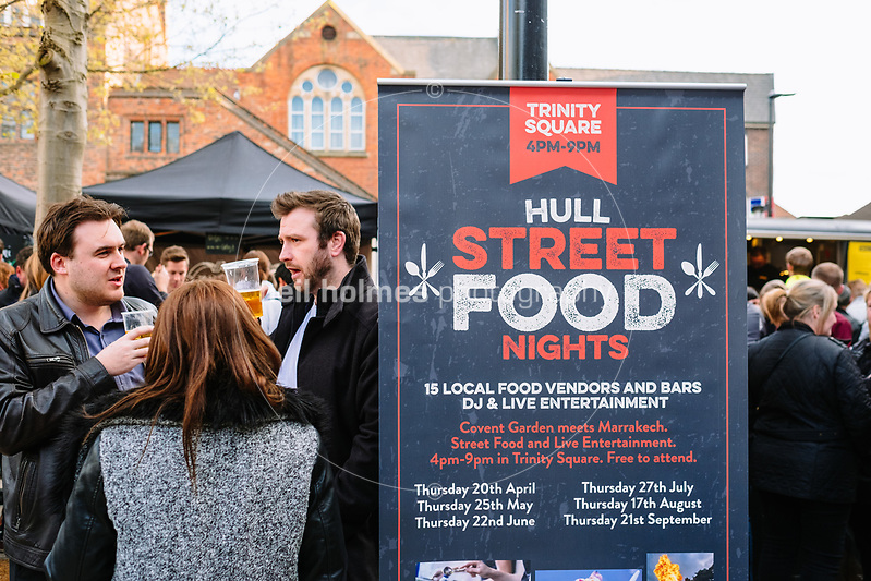 Trinity Square, Kingston Upon Hull, East Yorkshire, United Kingdom, 20 April, 2017. Pictured: Hull Street Food Nights at Trinity Square (Neil Holmes)