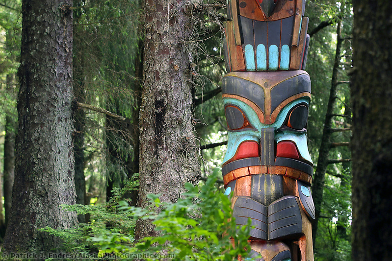 Sitka photos: Totem in the Sitka National Historic Park. Site of a Tlingit Indian Fort and the battle fought between the Russians and the Tlingits in 1804. (Patrick J. Endres / AlaskaPhotoGraphics.com)