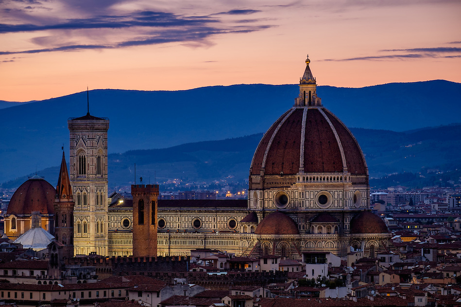 FLORENCE, ITALY - CIRCA MAY 2015:  Florence Cathedral,  Santa Maria del Fiore, known as The Duomo, at dusk as seen from Piazza Michelangelo (Daniel Korzeniewski)