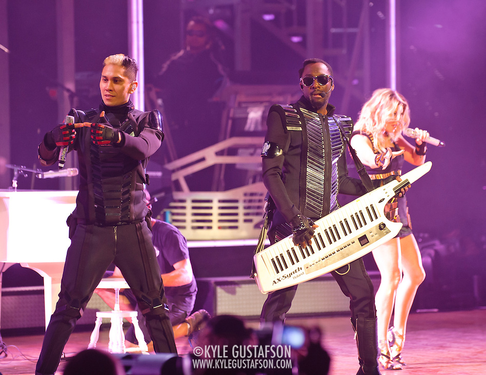 "COLUMBIA, MD - June 9th, 2011: Taboo, Will.I.Am and Fergie of the Grammy Award-wining hip-hop group The Black Eyed Peas perform at Merriweather Post Pavilion in Columbia, MD. The group recently released the single ""Don't Stop The Party"" from their sixth studio album, The Beginning. (Photo by Kyle Gustafson/For The Washington Post) (Kyle Gustafson/FTWP)"
