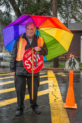 Crossing guard Daniel Sund reaches the end of his shift at the corners of Washington Street and Third Avenue. (Clark James Mishler)