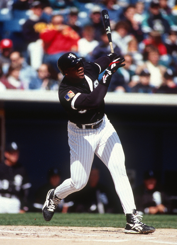 CHICAGO - 1994:  Frank Thomas of the Chicago White Sox bats during an MLB game at Comiskey Park in Chicago, Illinois.  Thomas played for the White Sox from 1990-2005.  (Photo by Ron Vesely) (Ron Vesely)