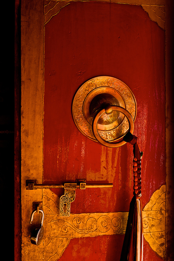 Annapurna Circuit Trek, Buddhist Temple in Marpha.  This shot was taken very early in the morning, as the monks opened the temple door for morning payers.  I love the contrast of tradition, with the newess of the lock in the door. (Martin Herrera Soler/Martin Herrera)