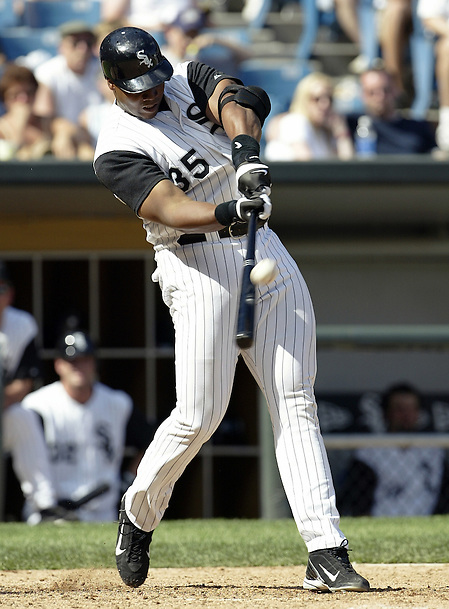 CHICAGO - 2004:  Frank Thomas of the Chicago White Sox bats during an MLB game at U.S. Cellular Field in Chicago, Illinois.  Thomas played for the White Sox from 1990-2005. (Photo by Ron Vesely) (Ron Vesely)