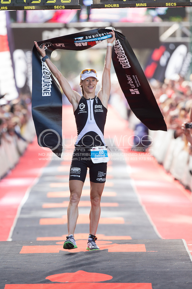 Corinne ABRAHAM (GBR) Wins Ironman Melbourne. Ironman Asia Pacific Championship Melbourne. Triathlon. Frankston And St Kilda, Melbourne, Victoria, Australia. 24/03/2013. Photo By Lucas Wroe (Lucas Wroe)