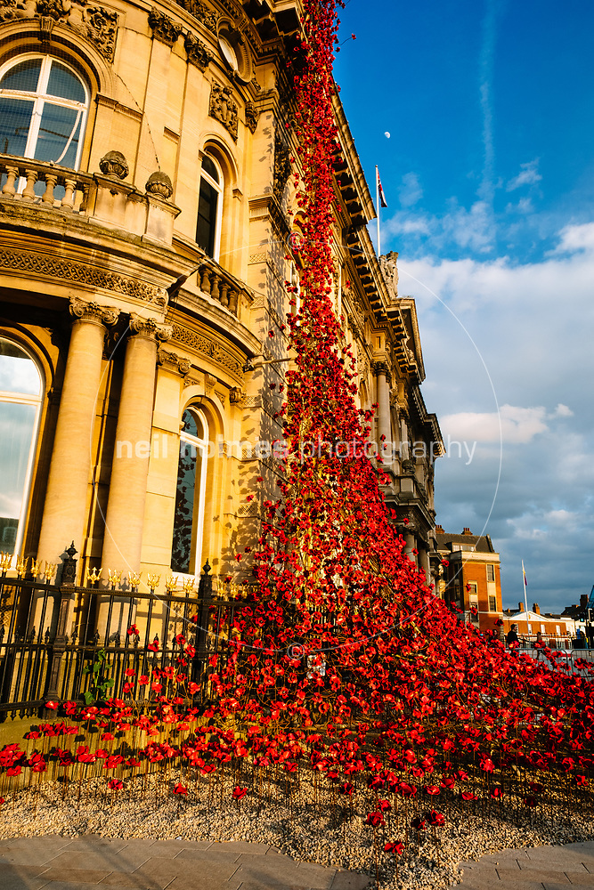 Queen Victoria Square, Kingston Upon Hull, East Yorkshire, United Kingdom, 05 April, 2017. Pictured: A cascade of several thousand handmade ceramic poppies. Weeping Window was originally part of the installation Blood Swept Lands and Seas of Red at the Tower of London (Neil Holmes)
