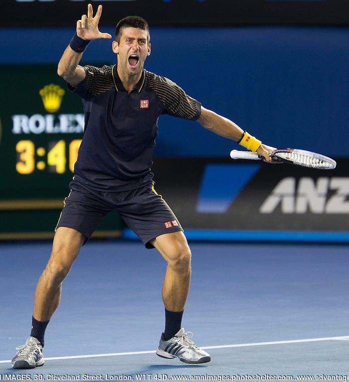 Novak Djokovic.Tennis - Australian Open - Grand Slam -  Melbourne Park  2013 -  Melbourne - Australia - Sunday 27th January  2013. .© AMN Images, 30, Cleveland Street, London, W1T 4JD.Tel - +44 20 7907 6387.mfrey@advantagemedianet.com.www.amnimages.photoshelter.com.www.advantagemedianet.com.www.tennishead.net (FREY - AMN IMAGES)