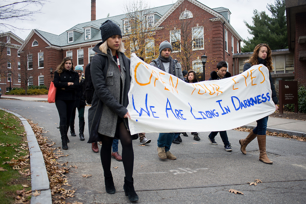 12/2/14 – Medford/Somerville, MA – Nic Serhan leads a group of Tufts students through a eulogy on Tufts Medford/Somerville on December 2nd, 2014. These eulogies will continue every 28 hours until Wednesday, December 10th. (Nicholas Pfosi / The Tufts Daily) (Nicholas Pfosi / The Tufts Daily)