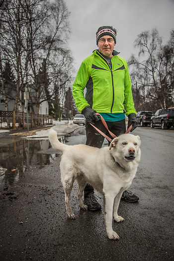 Kent Richter and his dog Northstar, South Addition, Anchorage (Clark James Mishler)
