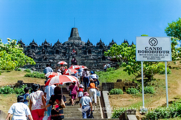 Java, Central Java, Borobodur. Borobudur is a 9th-century Buddhist monument near Magelang, Central Java. Borobodur is on the UNESCO World Heritage List. (Photo Bjorn Grotting)