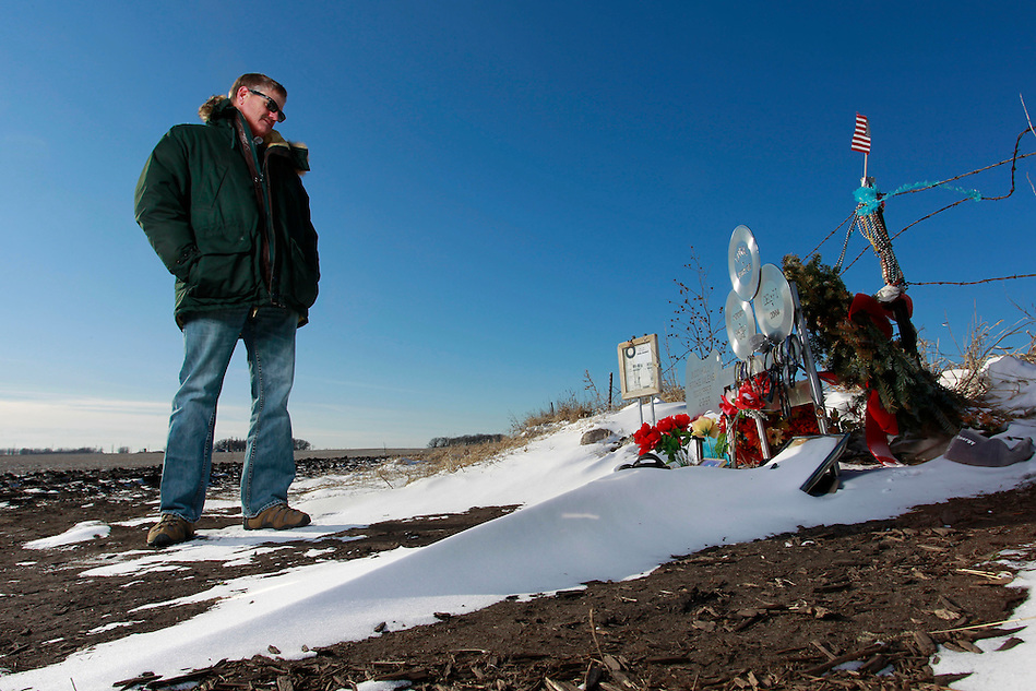 "1/19/12 3:28:10 PM -- Clear Lake, IA, U.S.A. -- THIS IS FOR A LIFE COVER:.Jeff Nicholas, president of the Surf Ballroom & Museum stands near a memorial at the site of the 1959 plane crash that killed  Buddy Holly, Ritchie Valens and J.P. ""The Big Bopper"" Richardson a few miles outside of Clear Lake, Iowa.  Nicholas also owns the land.  ""It's an honor to own this land.  People come from all over the world to stand at this site.  This is where the music died, but in a way, it's also where the music began,"" he says..On Feb. 3, 1959, Buddy Holly, Ritchie Valens and the Big Bopper died when their plane crashed in a farm field north of Clear Lake, Iowa ? an event memorialized as ?the day the music died? in the 1971 song American Pie by Don McLean. The three 1950s stars played their last gigs at Clear Lake?s Surf Ballroom, which is intact today and holds an annual celebration of its moment in music history. The ballroom, largely the same as it was in its ?50s heyday, struggled as a for-profit business and has been operated as a non-profit since 2008. It hosts concerts, weddings, reunions and school tours. It has a small museum, but the big draw is the place itself. The maple dance floor and booths are original. One of the two original coat checks is still there and so is the phone that Holly used to call his wife before the fatal crash, the website boasts. The fun part is the annual gathering of fans from all over the world, which this year is Feb. 1-4 and is delicately called the ?winter dance party.? There are concerts each night, a bus outing to the crash site, which is marked by a giant pair of the glasses Holly wore, dance lessons, video and art contests and a gathering of the British Buddy Holly Society (whose members have been coming to Clear Lake for 23 years). Chuck Berry is a featured performer this year. It?s a charming and weird slice of Iowa life and rock ?n? roll history. -- ...Photo by Christopher Gannon for USA TODAY. (Christopher Gannon/for USA TODAY)"
