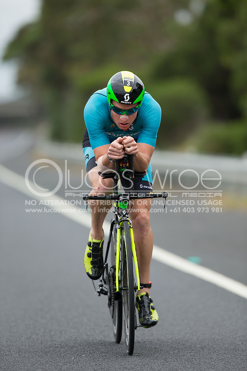 Luke McKenzie (AUS), March 23, 2014 - Ironman Triathlon : Bike Course. Ironman Melbourne Race, Bike Cycle Course Between Frankston And Ringwood Tunnel, Melbourne, Victoria, Australia. Credit: Lucas Wroe (Lucas Wroe)