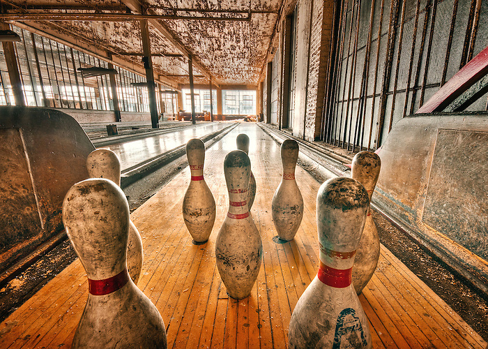 The Abandoned Scranton Lace Company in Scranton PA. A set of old bowling pins sit on an abandoned bowling alley. (Walter Arnold)
