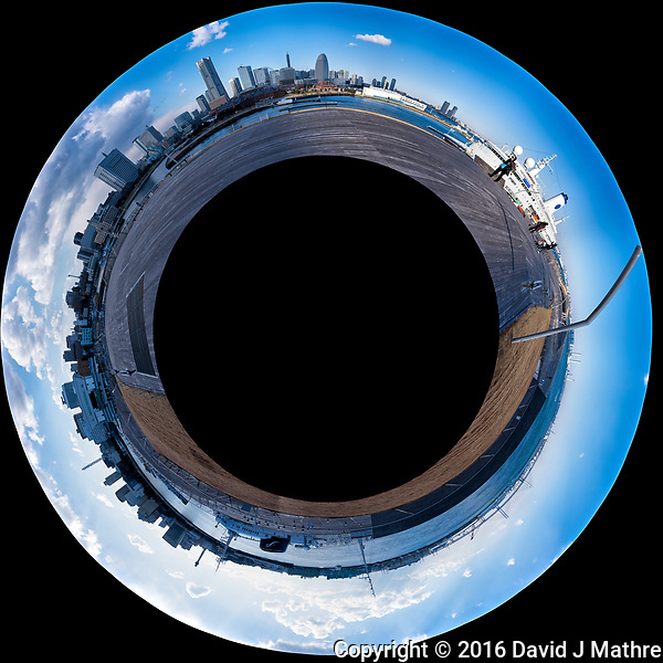Little Planet View of the Yokohama, Japan Skyline from the Osanbashi Pier. Composite of 37 images taken with a Fuji X-T1 camera and 35 mm f/1.4 lens (ISO 200, 35 mm, f/11, 1/250 sec) using a 360° Mindarin Astro rotating tripod head. Raw images processed with Capture One Pro and the Little Planet view created using AutoPano Giga Pro. (David J Mathre)