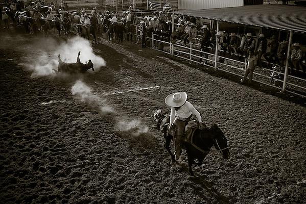 Coleadero (steer wrestling) competition at a charreada in Atascosa, Texas. (Darren Carroll)