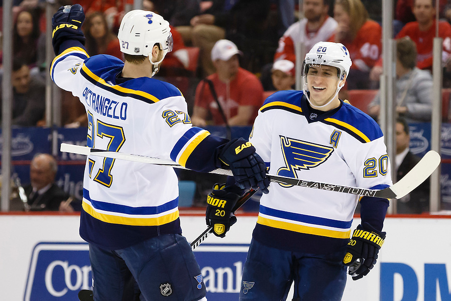 Mar 22, 2015; Detroit, MI, USA; St. Louis Blues left wing Alexander Steen (20) receives congratulations from defenseman Alex Pietrangelo (27) after scoring in the second period against the Detroit Red Wings at Joe Louis Arena. Mandatory Credit: Rick Osentoski-USA TODAY Sports (Rick Osentoski/Rick Osentoski-USA TODAY Sports)