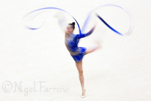 11 AUG 2012 - LONDON, GBR - Ganna Rizatdinova (UKR) of Ukraine performs her ribbon routine during the 2012 London Olympic Games Individual All-Around Rhythmic Gymnastics final at Wembley Arena in London, Great Britain (PHOTO (C) 2012 NIGEL FARROW) (NIGEL FARROW/(C) 2012 NIGEL FARROW)