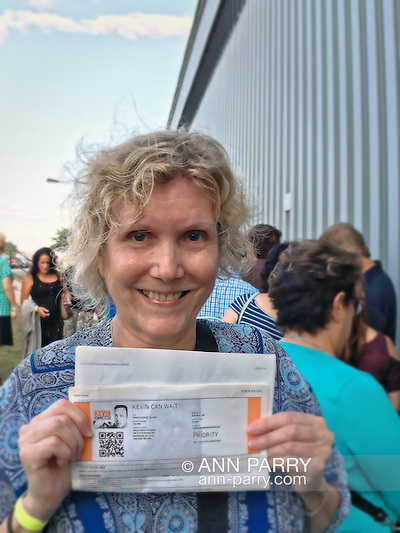 "Bethpage, New York, USA. August 19, 2016. Ann holds printed sheet with PRIORITY TICKETS to be in audience during taping of CBS new comedy series ""Kevin Can Wait"" starring actor KEVIN JAMES, and set to premiere mid September 2016 The Sony Pictures Television Inc show is the first series to be shot entirely on Long Island, and is filmed at Gold Coast Studioes. Kevin James, a Long Island native, portrays the title character Kevin Gable, a newly retired police officer who lives with his family in Massapequa. Other cast member include: Erinn Hayes as his wife Donna, a school nurse; Taylor Spreitler as their older daughter Kendra; Ran Cartwright as Kendra's fiance; Mary-Charles Jones as the younger daughter Sara; and James DiGiacomo as the young son Jack. Episode #101 was written by Heather Flanders and Directed by Andy Fickman. Executive Producers are Mr. James, Bruce Helford, Rock Reuben, and Jess Sussman. (Ann Parry/Ann Parry, ann-parry.com)"