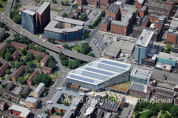 Manchester Metropolitan University Business School & Student Hub from the air - aerial photography by Simon Kirwan
