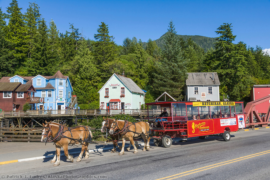 Ketchikan Alaska photos: Horse drawn carriage takes tourists around the famous Creek Street in downtown Ketchikan, southeast, Alaska. (Patrick J. Endres / AlaskaPhotoGraphics.com)