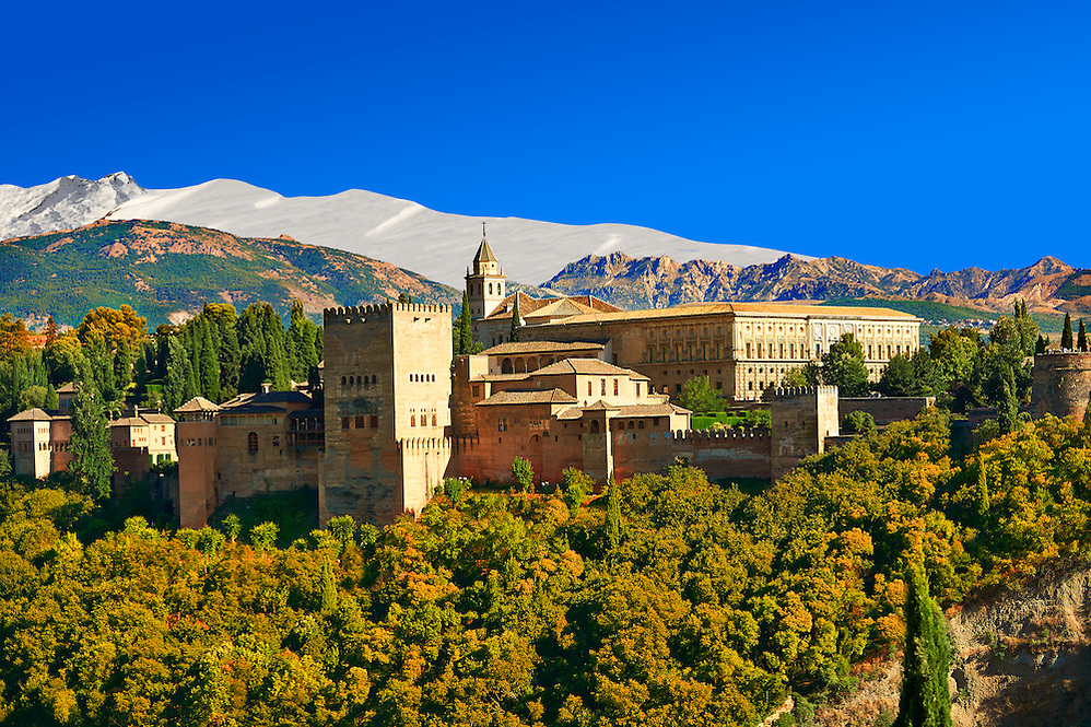 View of the Moorish Islmaic Alhambra Palace comples and fortifications. Granada, Andalusia, Spain. (Paul E Williams)
