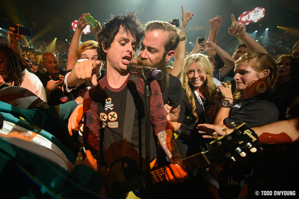 Green Day performing at the iHeartRadio Music Festival in Las Vegas, Nevada on September 21, 2012. (Todd Owyoung)