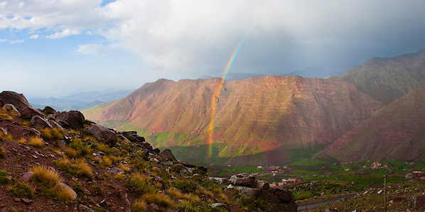 Moroccan High Atlas landscape showing a rainbow in the mountains, just outside Oukaimeden Ski Resort, Morocco, North Africa