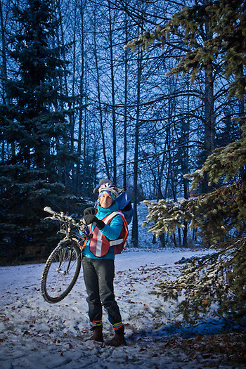 Alaska State Parks Deputy Director, Claire LaClair, with her bicycle on the Tony Knowles Coastal Trail, Anchorage (Clark James Mishler)