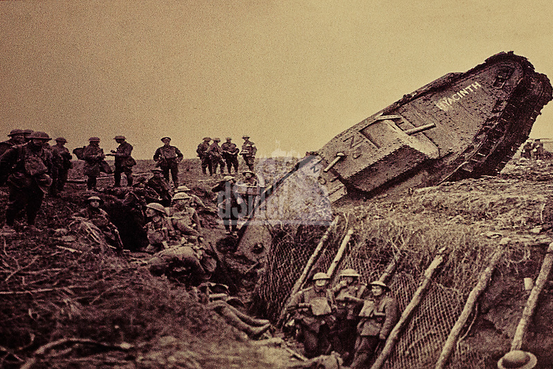 British WWI tank stuck in trench. Battle of Arras 9th April 1917 (Bill Bagshaw/M. Williams)