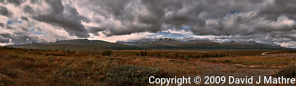 Late Summer Tatshenshini-Alsek Provincial Park Panorama from the Haines Highway. Composite of seven images taken with a Nikon D3 camera and 24-70 mm f/2.8 lens (ISO 200, 36 mm, f/18, 1/160 sec). Raw images processed with Capture One Pro and composite created with AutoPano Giga Pro. (David J Mathre)