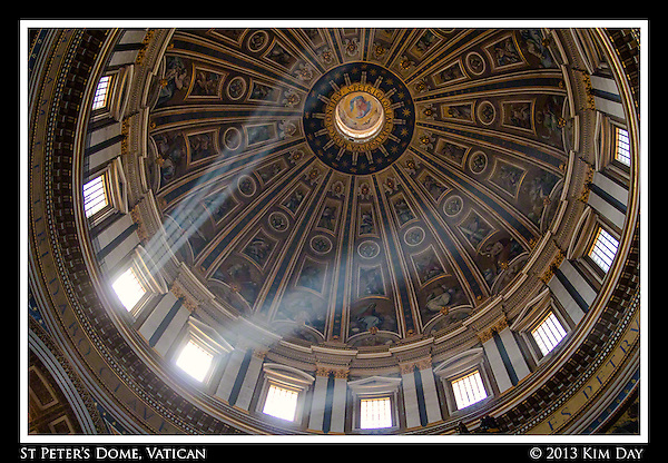 Sun streams through the Dome at St. Peter's Basilica Vatican City March 2014 (KIM DAY, Kim Day)