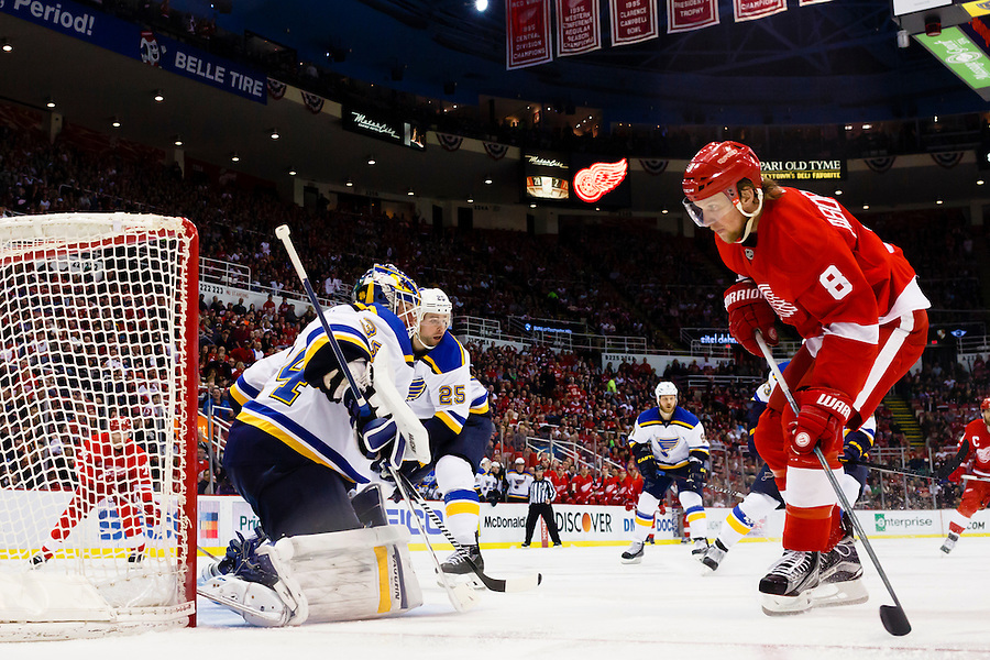 Mar 22, 2015; Detroit, MI, USA; Detroit Red Wings left wing Justin Abdelkader (8) goes toward the goal of St. Louis Blues goalie Jake Allen (34) in the second period at Joe Louis Arena. Mandatory Credit: Rick Osentoski-USA TODAY Sports (Rick Osentoski/Rick Osentoski-USA TODAY Sports)