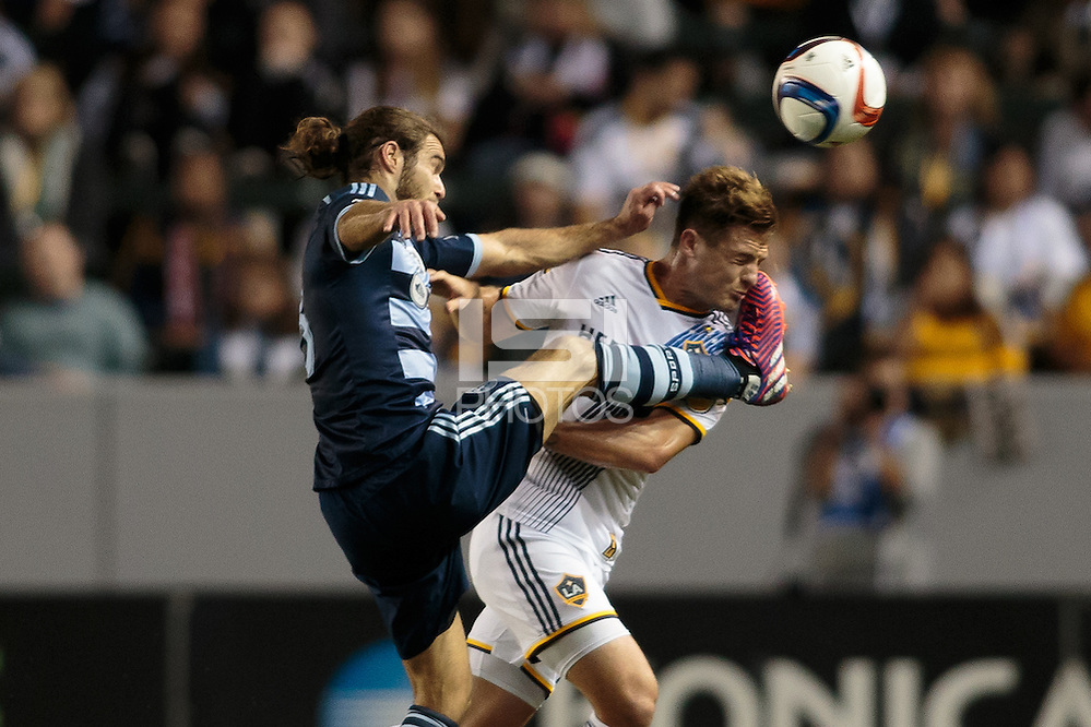 Carson, CA - Saturday, April 18, 2015: The LA Galaxy defeated Sporting KC 2-1 in a Major League Soccer (MLS) game at StubHub Center. (Michael Janosz/isiphotos.com)