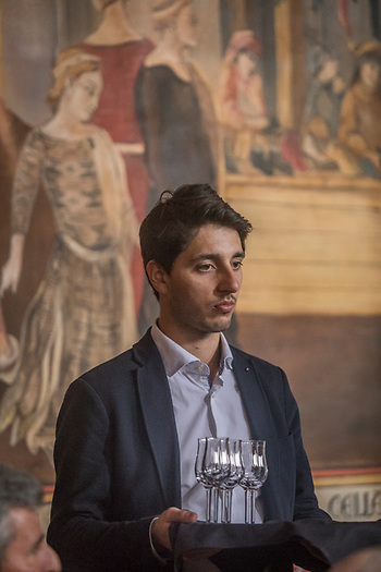 Wine Stewart Pierre Gouleret serves at the ten year anniversary celecbration of the Castello di Amorosa in Calistoga (Clark James Mishler)