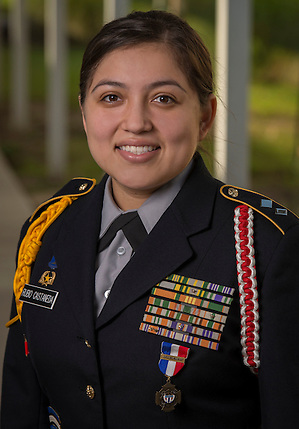 JROTC cadet Bianca Rubio-Casteneda poses for a photograph at Bellaire High School, October 10, 2014. Rubio-Casteneda has been awarded the Legion of Valor Bronze Cross for outstanding achievement in the reserve officers training corps program. (Houston ISD/Dave Einsel)