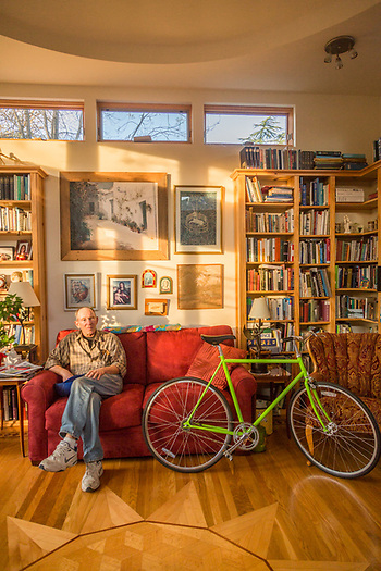 """I designed this room and the dome  ceiling often produces an ecco.""  -Retired wood floor craftsman Donadl Williams sits in late afternoon light in the library of his home on View Road in Calistoga. (Clark James Mishler)"