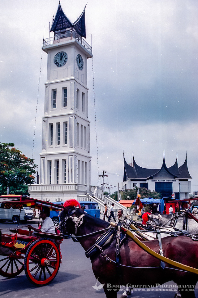 West Sumatra, Bukittinggi. Jam Gadang, the characteristic clock tower, a landmark in Bukittinggi. The structure was built in 1926 during the Dutch colonial era. (Photo Bjorn Grotting)