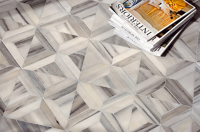 Newman, a stone waterjet mosaic shown in Horizon honed, is part of the Parquet Line by Sara Baldwin for New Ravenna Mosaics. (Sara Baldwin)