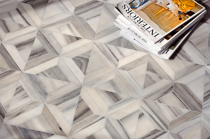 Newman Stone Waterjet Mosaic shown in Horizon honed. (Sara Baldwin)