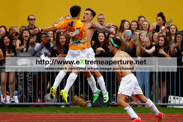 London, UK on Sunday 31st August, 2014. The Janoskians football team celebrate scoring a goal during the Soccer Six charity celebrity football tournament at Mile End Stadium, London. (David Horn/EAP)