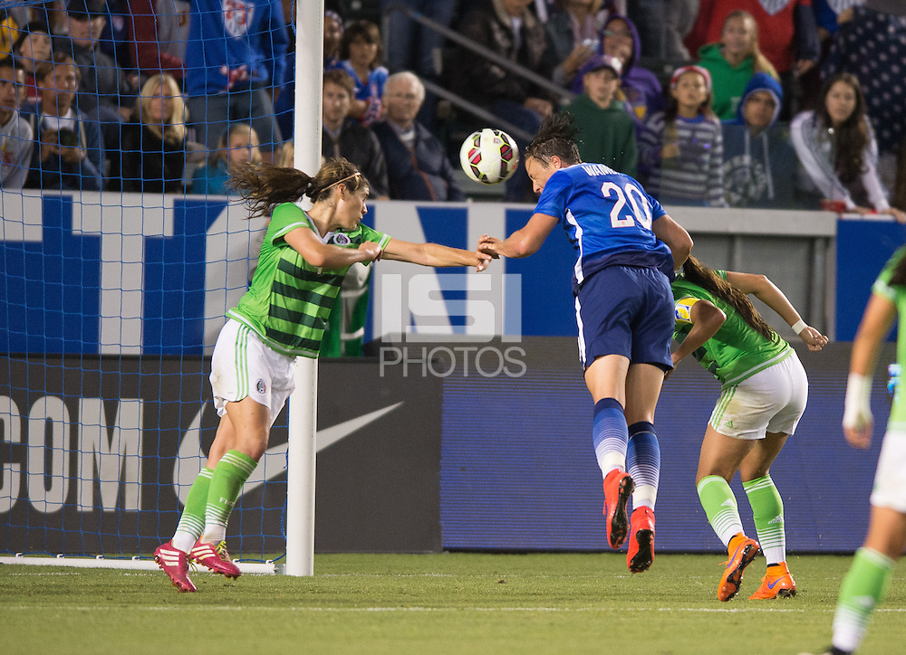 Carson, Ca - Sunday, May 17, 2015: The USWNT defeated Mexico 5-1 at StubHub Center during an international friendly.  Abby Wambach scores on a header. (John Todd/isiphotos.com)